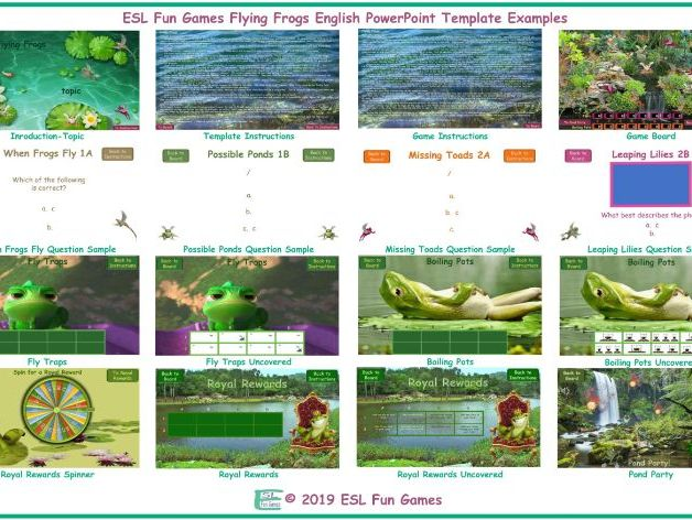 Flying Frogs English PowerPoint Game TEMPLATE FREE READ ONLY SHOW
