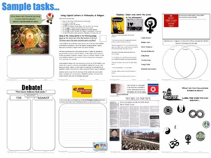 KS3 Philosophy & Religion Homework Booklet: Make Homework Planning Easy (1 year's worth of HW!)