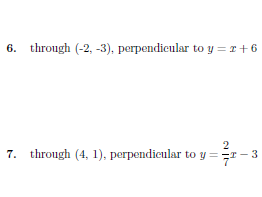 Equation of a line through a point and perpendicular to a given line worksheet no 2 (with solutions)