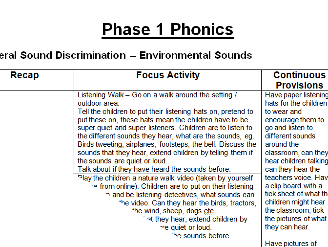 EYFS Phase 1 Phonics 7 Weeks Planning