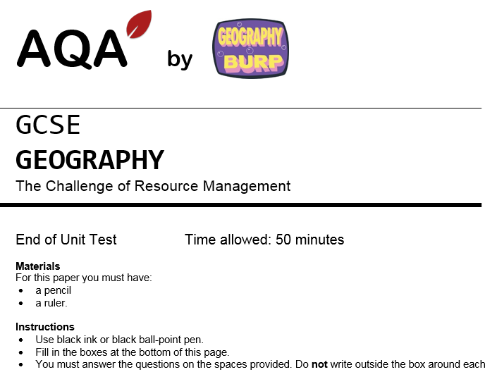 AQA GCSE Geography (9-1) - Practice Exam Paper - The Challenge of Resource Management