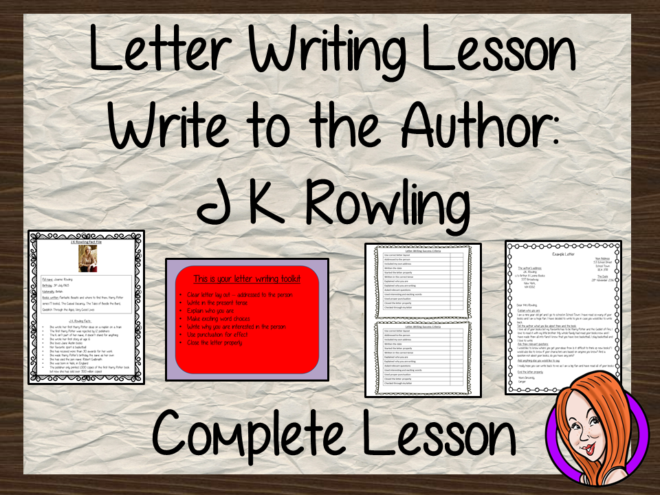Complete Lesson on Writing a letter to an author  -  Write to J K Rowling