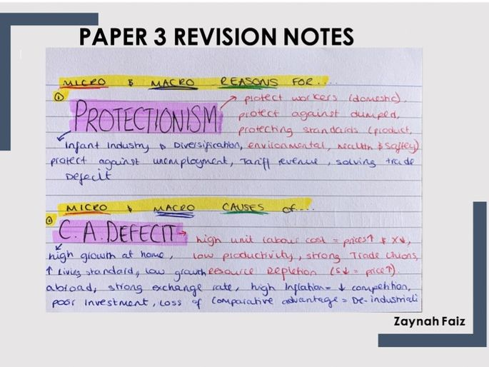 Economics Edexcel Paper 3 revision notes