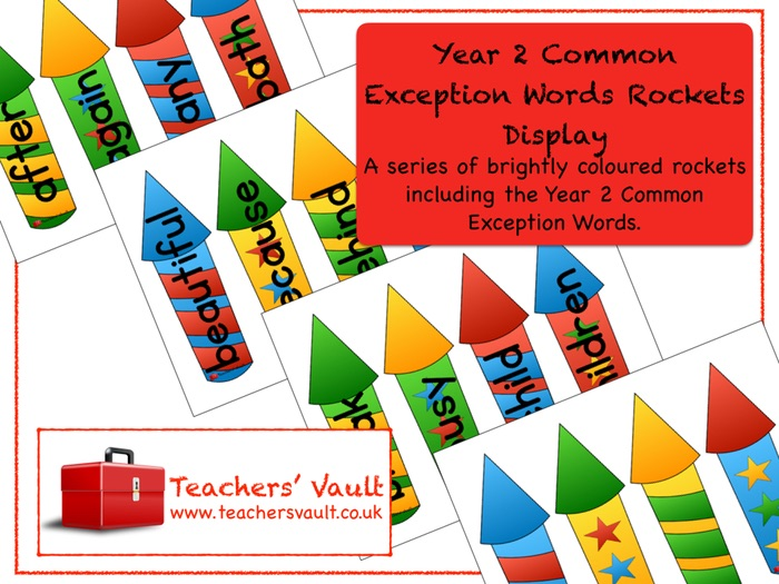 Year 2 Common Exception Words Rockets Display