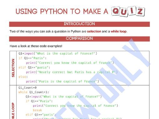 Making  A Quiz in Python