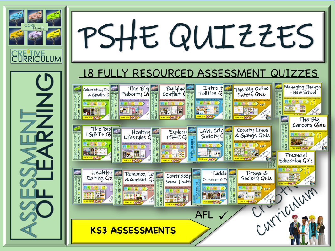 PSHE RSE KS3 Assessment Quizzes 2019