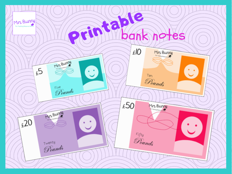 Printable money - bank notes (£5, £10, £20, £50)