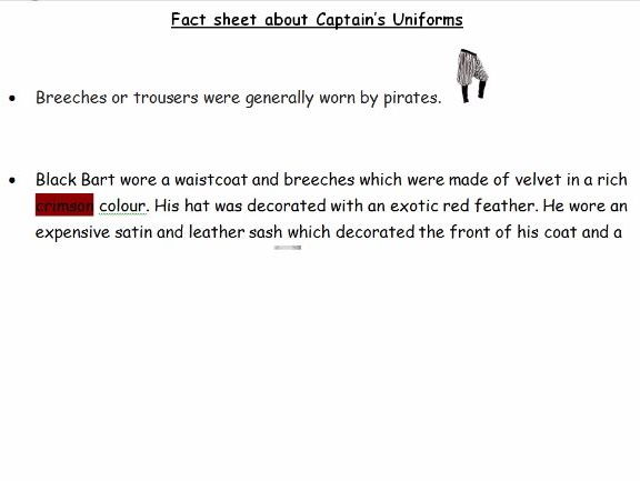 Year 2 pirate lessons plans