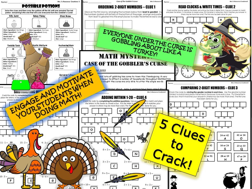 Thanksgiving Math Mystery (GRADE 1)