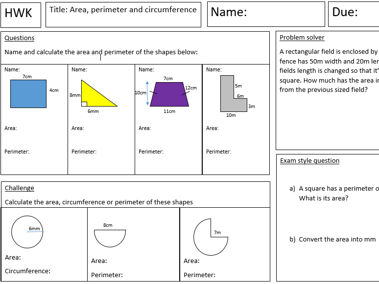 Area, perimeter and circumference homework