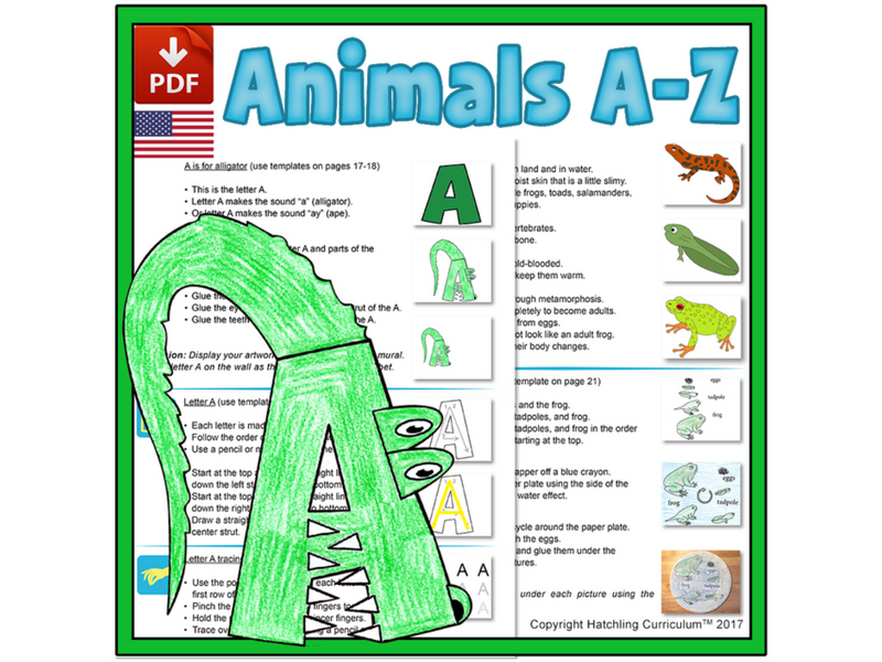 Animals & the Alphabet: 26 Complete Curriculum Lessons - US Version (Letter)