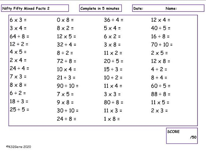 Y3 Times Tables Nifty Fifty
