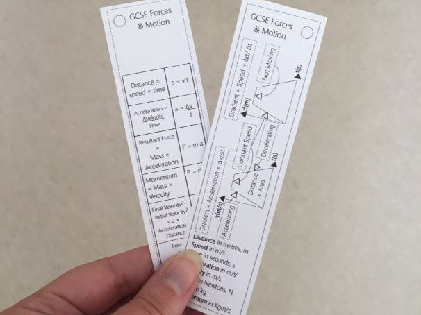 Forces & Motion Equation Bookmark (2018 spec)