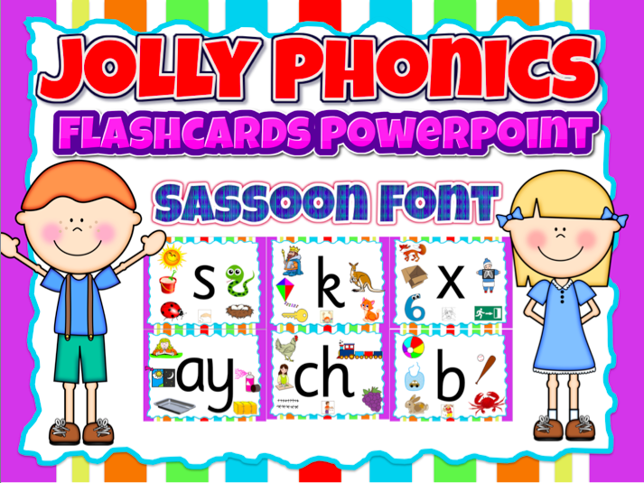 Jolly Phonics- (flashcards/ wall decor) Powerpoint in Sassoon Font