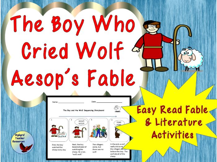The Boy Who Cried Wolf Aesop's Fable Reading Comprehension and Literature Activities