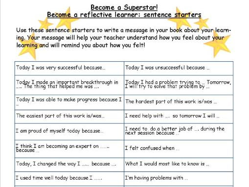 pupil self assessment sentence starters by kathrowden