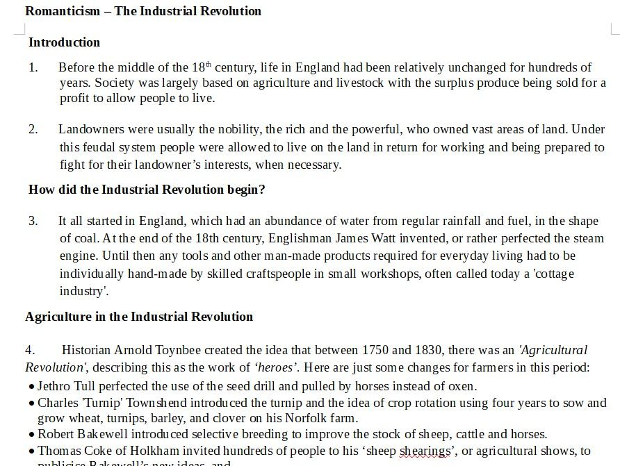 Romanticism: Industrial Revolution: Context