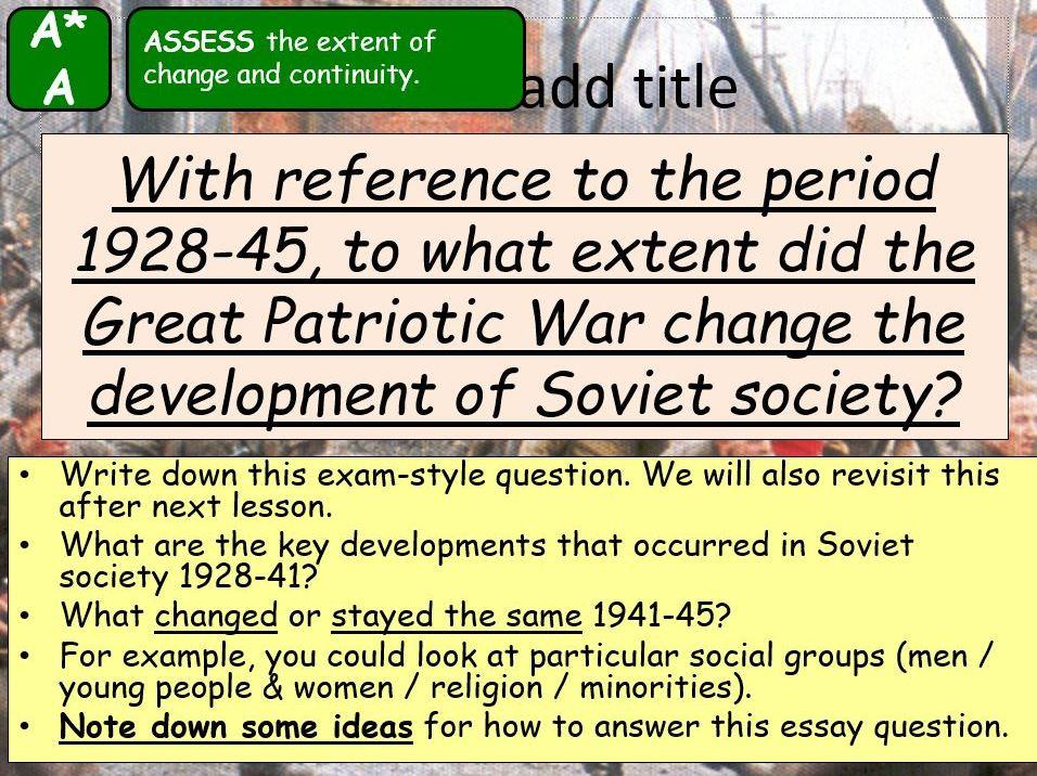 AQA A-Level Tsarist & Communist Russia Lesson 83 (Impact of War 1)