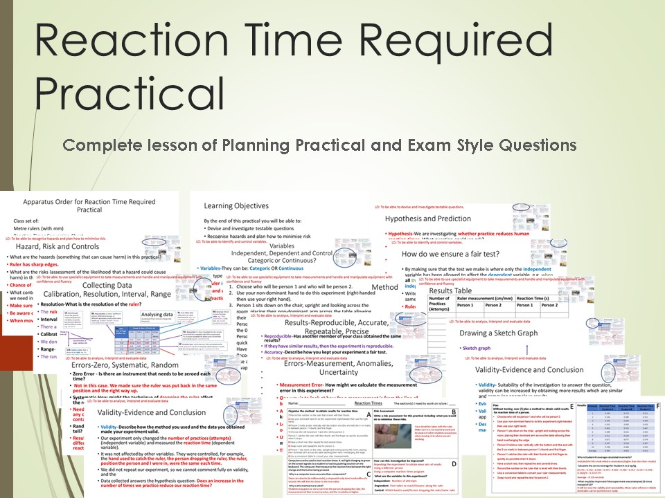 Reaction Time Required Practical Lesson (with instructions for home use)