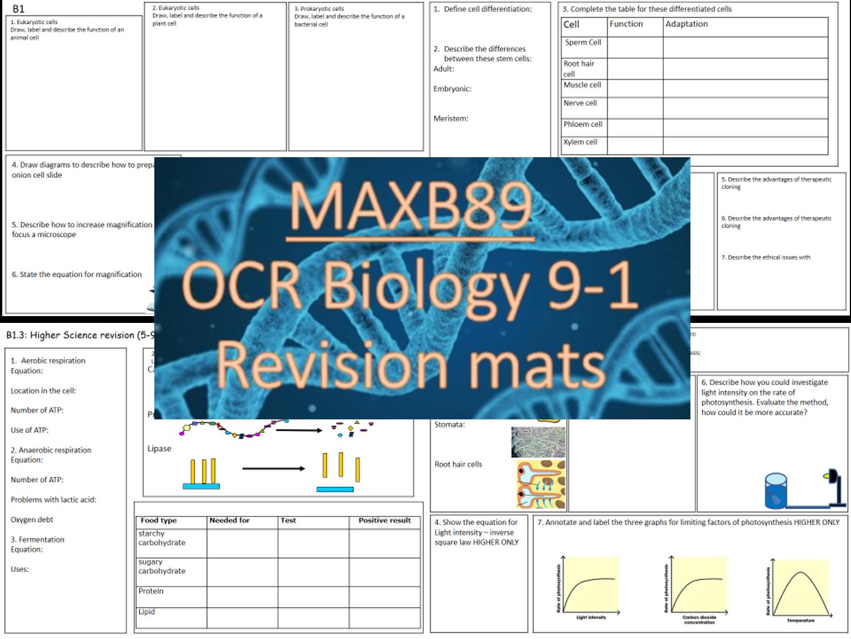 OCR 9-1 Biology Revision Mats  -Entire B1-6 (All topics)