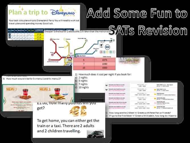 Maths Fun Revision Activity - KS2 and SATs Plan a Trip to Disneyland Paris