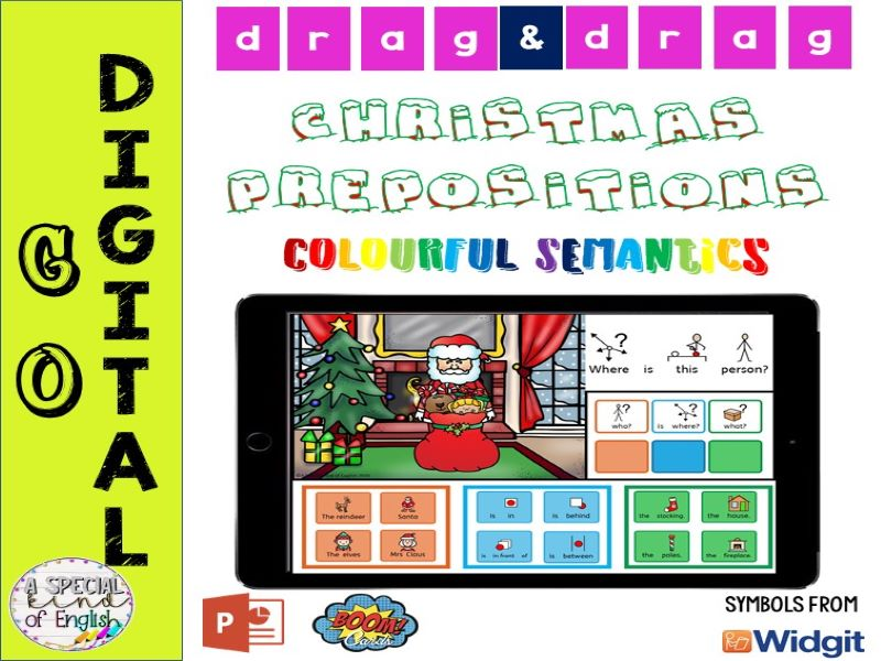 Christmas Scene Prepositions - Digital PPT and BOOM Cards: Drag and Drop