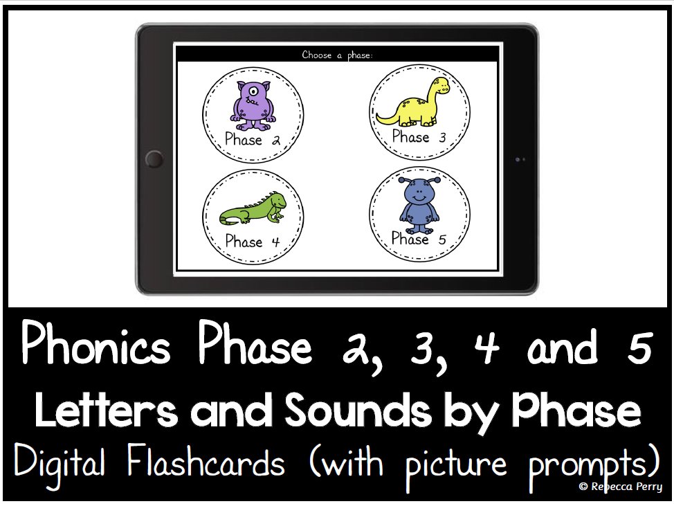 Phonics Phase 2,3,4,5 - Digital Flashcards - Phonics by Phase - Letters & Sounds - Picture Prompts