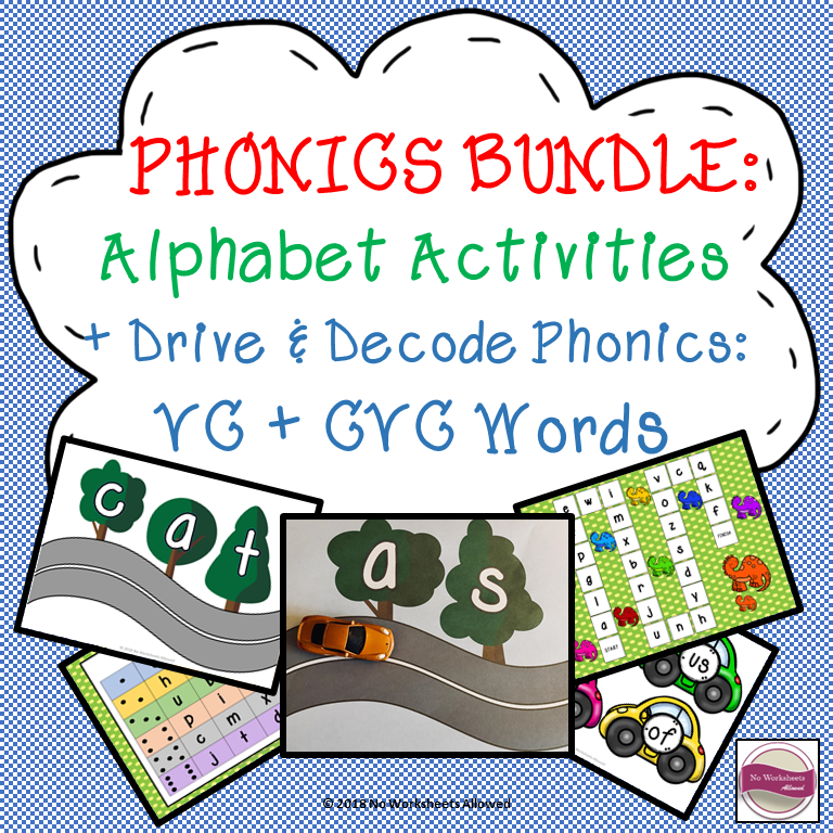 Phonics Bundle: letter sounds, VC blending activity & CVC blending activity