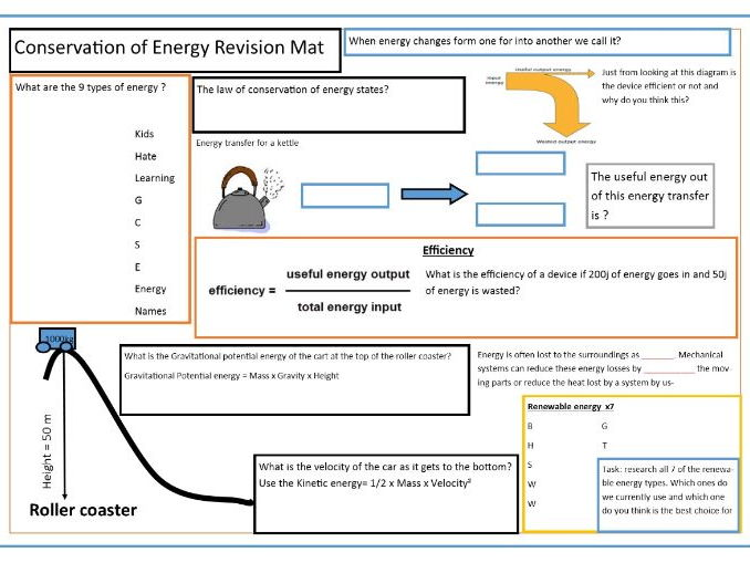 Conservation of Energy Revision Mat