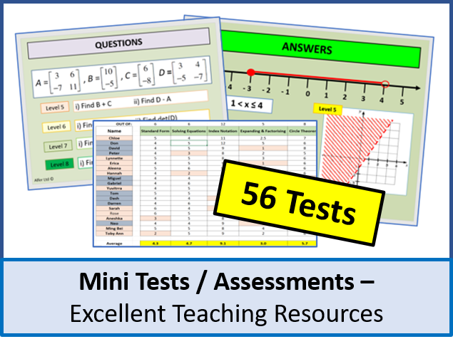 Maths: Mini Tests / Assessments (x56) - all different topics with GCSE levels (excellent plenaries)