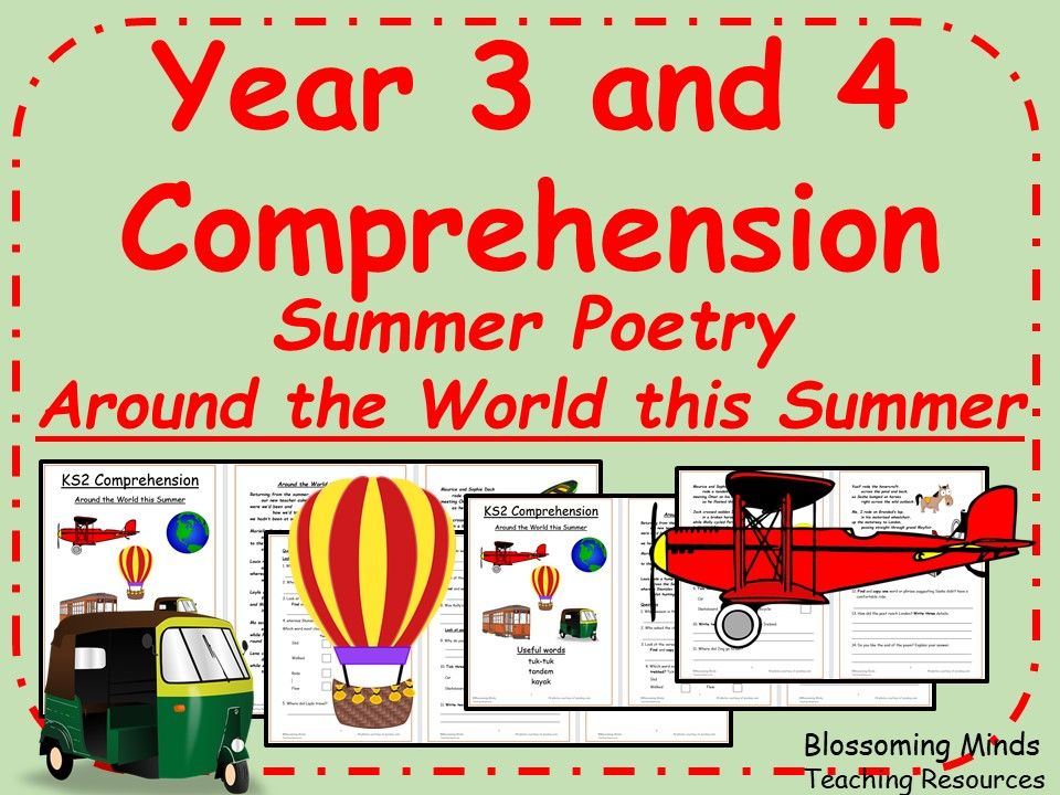 Year 3 and 4 Summer Poetry Comprehension - Around the World this Summer