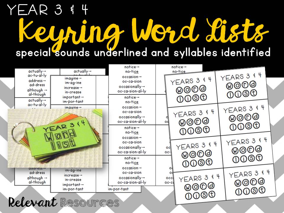Word List for Year 3 & 4