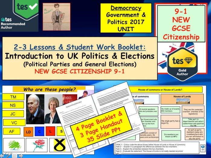 NEW GCSE Citizenship (9-1) Introduction to UK Politics and elections x3 lessons