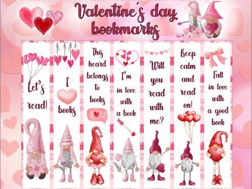 Valentine Gnomes Bookmarks Valentine's Day