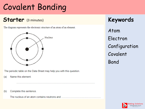 AQA Chapter 2 - Lesson 1 - Covalent Bonding