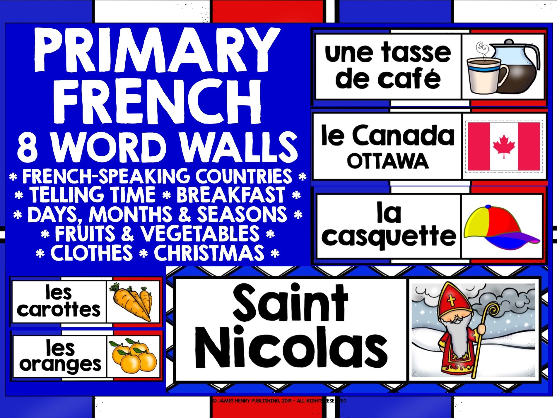 PRIMARY FRENCH WORD WALL BUNDLE #1