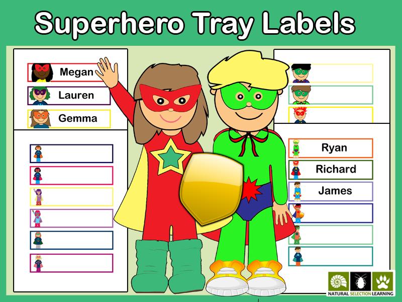 Superhero Tray Drawer Labels