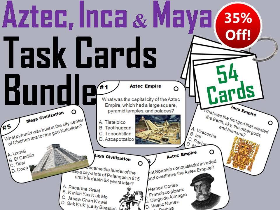 Aztec, Inca Maya Empire Task Cards