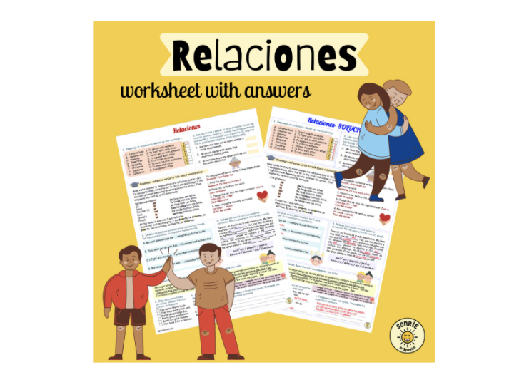 Mi gente: relaciones. Reflexive verbs. Relationships Spanish GCSE Worksheet with answers