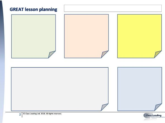 Workload Reduction - GREAT lesson planning
