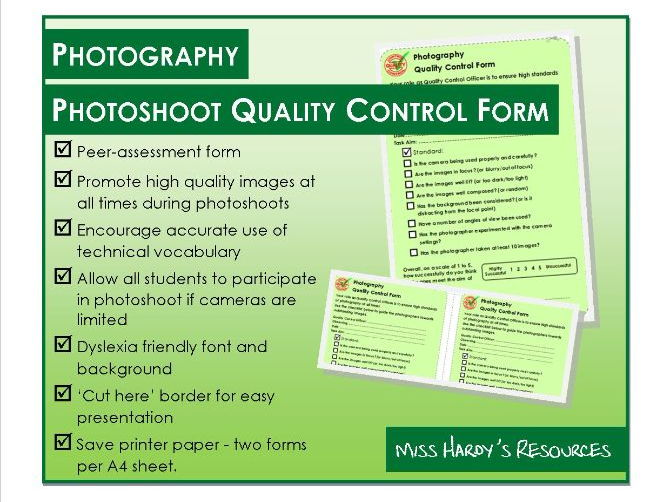 Photography - Photoshoot Quality Control Form - Peer assessment - Camera Handling