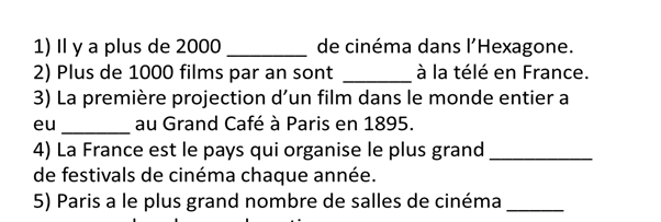 Le cinéma - gap-fill exercise.  AQA A/AS Level French