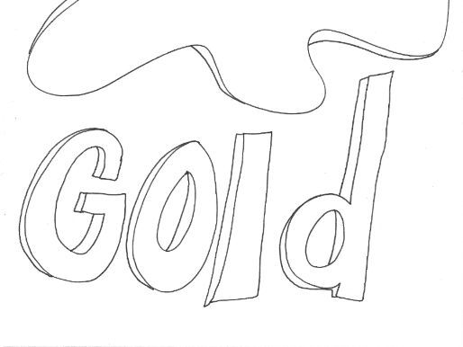 Gold: Colours: Splodge Colouring Page