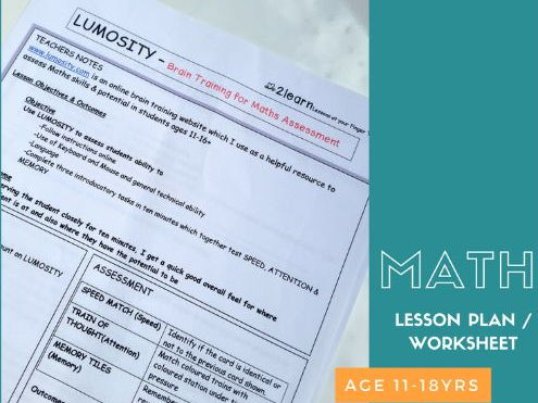 Lesson Plan -  LUMOSITY Brain Training for Maths Ability Assessment .