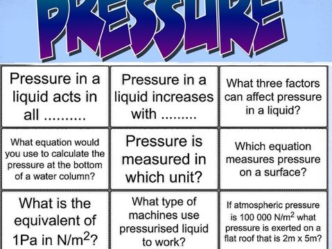 Pressure GCSE physics activities, flash cards, card sorts, hexagon (SOLO compatible)