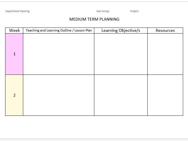 Medium & Long Term Planning Template