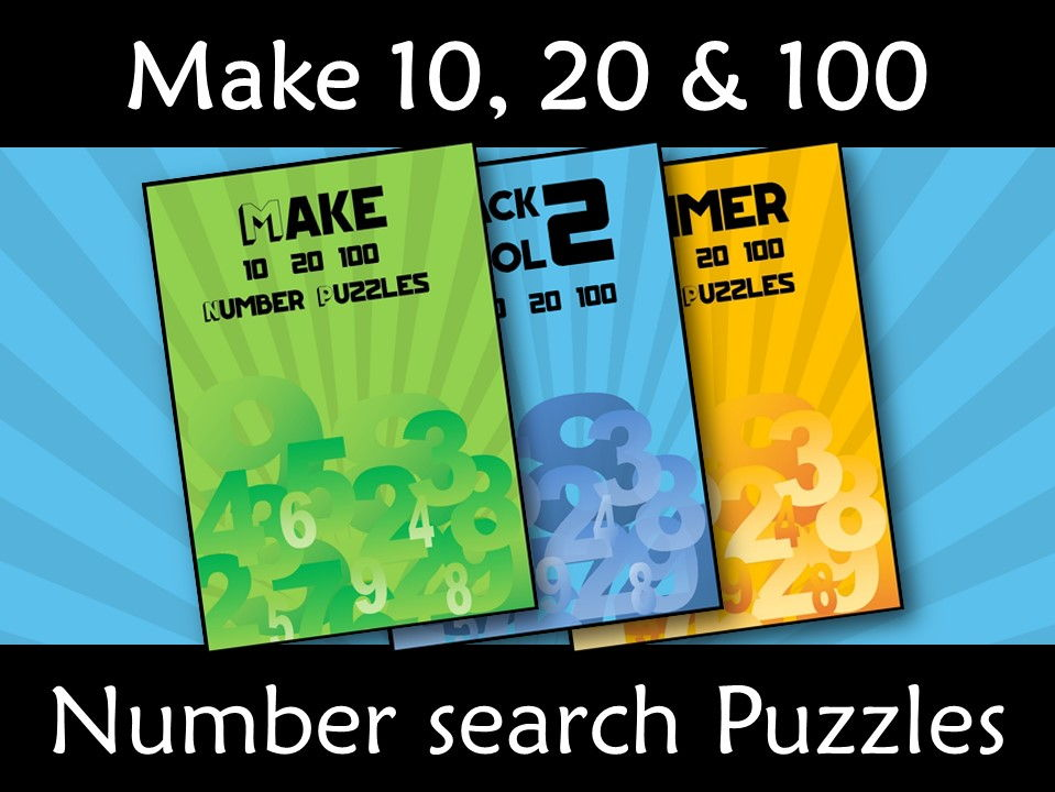 Addition Make 10, 20 and 100 Number Search Bundle