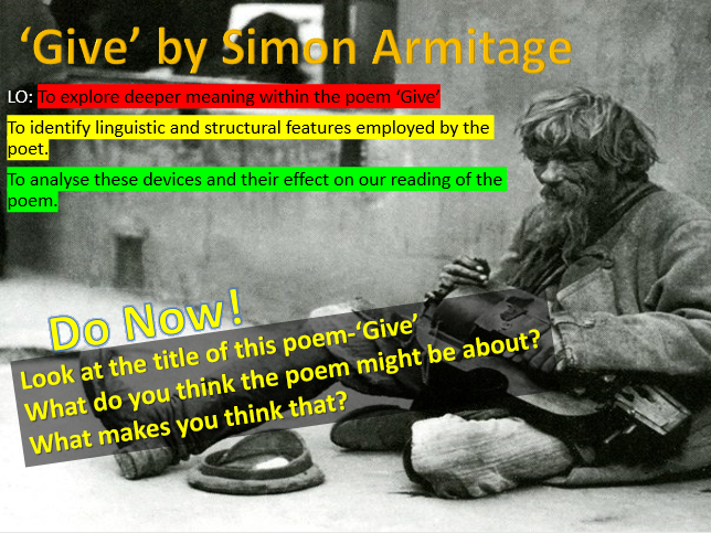 Poem Analysis - 'Give' by Simon Armitage
