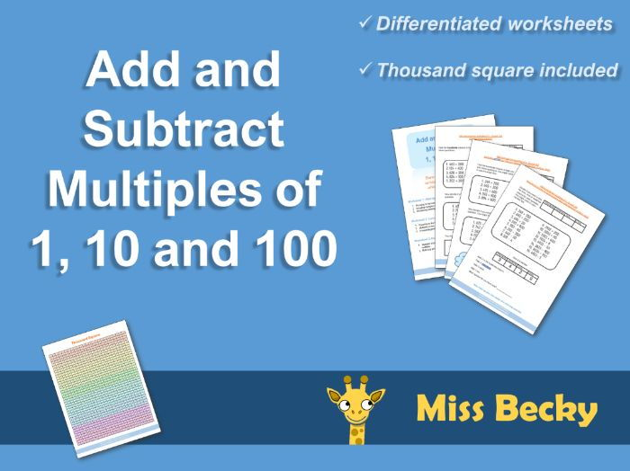 Add and Subtract Multiples of 1, 10 and 100 (Differentiated ...