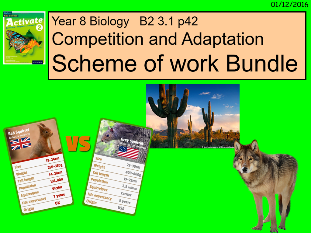 Year 8 Biology   B2 3.1  Competition and Adaptation Scheme of work Bundle